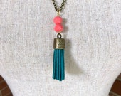 Dark Teal Tassel Necklace on Chain with Pink Beads