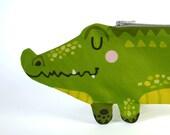 Federmäppchen Krokodil, Stifteetui, Stiftemäppchen, Stiftetäschchen, Schlampermäppchen, Baumwolle, grün