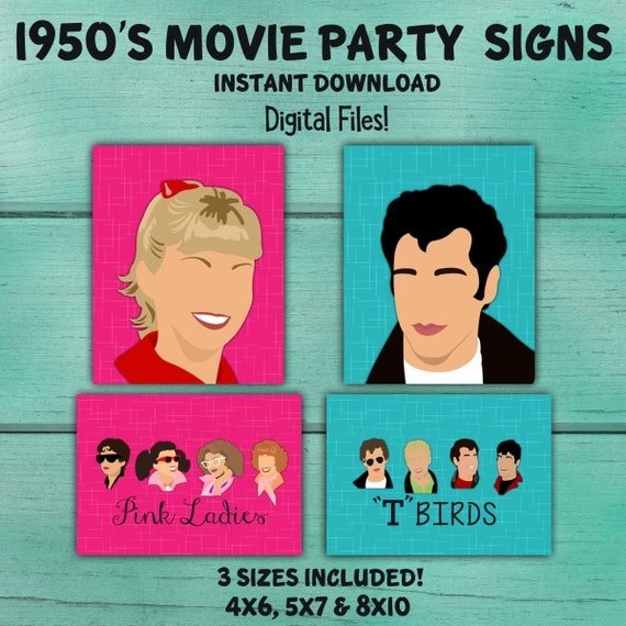 50\'s party signs, 50\'s table decorations, 50\'s wall decor, Grease ...
