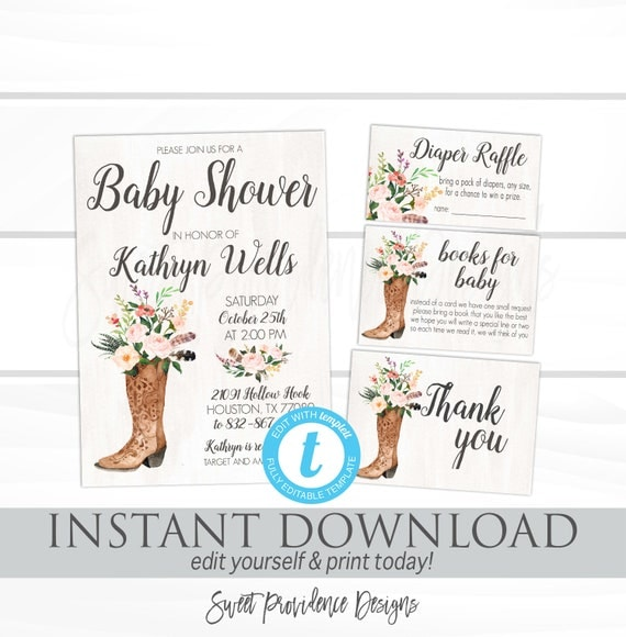Rustic baby shower invitation kit floral boots watercolor fall il570xn filmwisefo