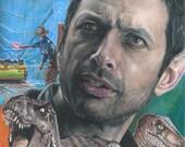 Print of Colored Pencil Drawing of Jeff Goldblum as Ian Malcom in Jurassic Park 8.5 x 11