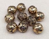 10 Vintage Gold Acrylic Rose Beads