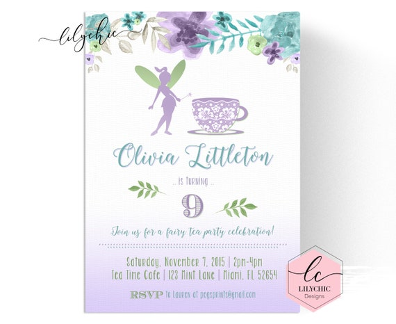 Fairy Tea Party Invitation Fairy Birthday Invitation Fairy