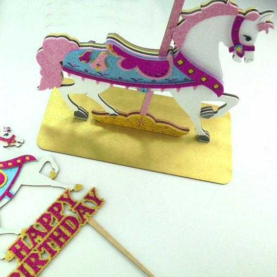 Cake Topper Carroll circus horses baby first birthday Glitter Foamy ...