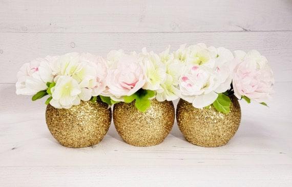 Set Of 3 Vases Gold Wedding Centerpiece Decoration Baby Shower