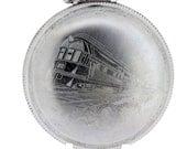 Base Metal Case Waltham Pocket Watch Locomotive Train Engine