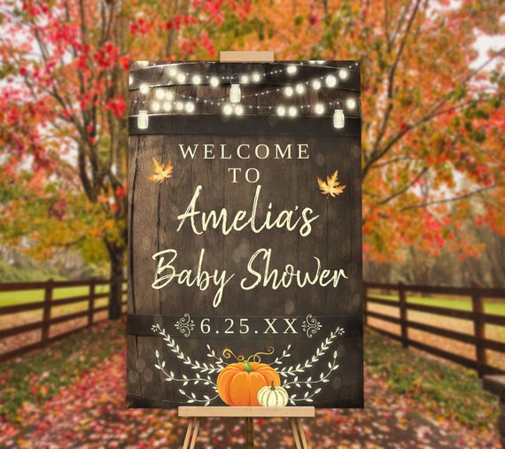fall pumpkin baby shower decorations rustic baby shower welcome sign