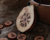 Vegvisir viking necklace • Viking jewelry • Wooden necklace • Pagan jewelry • Viking necklace • Viking amulet • Nordic mythology • Viking