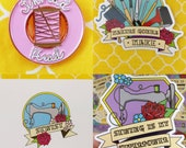 Special bundle deal! Thread Head pin badge PLUS a sticker of your choice AND an A6 print of your choice.
