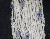 Handspun Art Yarn with Felted Flowers 28 yards natural cream pink roses by Autumn Rose Art Yarn