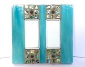 Turquoise Switch Cover, Abalone Shell Light Switch Plate, Light Switch Cover, Mosaic, Modern Decor, Stained Glass, Double, Room Decor, 9006