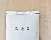 His and Her Initials lavender scented sachet, cotton anniversary gift, long distance relationship