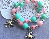 Unicorn jewelry, unicorn kids birthday party favor, bracelet, kids birthday party, lootbag favor, kids jewelry, SET of TEN.