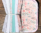 Cloth Baby Wipes. Starter Kit - 3 dozen. SALE 20% off. Eco friendly reusable cloth diapering wipes. Girly peachy flowers