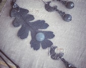 OAK GROVE by MOONLIGHT real oak leaf turned to metal with grey moonstone, ooak set