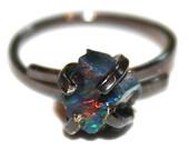 Small Raw Black Opal Ring Raw Opal Ring Free Form Ring Black Opal Jewelry Prong Set Opal Ring Dark Opal Raw Stone Ring Rustic Ring