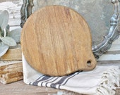 Vintage Round Cutting Board Wood Bread Board French Farmhouse Decor Fixer Upper Decor