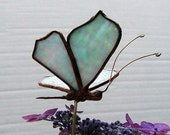 Small  Stained Glass Butterfly Plant Stake, Garden Art, Gift, Home Decor, Floral Support, Sun Catcher, Aqua Art Glass  Insect
