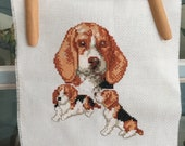 Small Finished Embroidery Beagle with Puppies Cross Stitch Ready to Frame