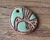 Stoneware pendant, NATURAL, RUSTIC and EARTHY ceramic focal piece, handmade jewelry component