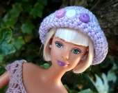 crochet closhe hat with button detail for Barbie/ Sindy / Azone pure Neemo or similar