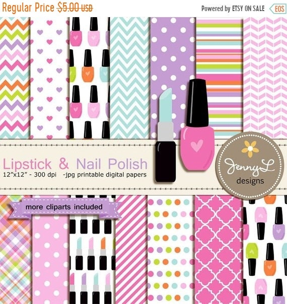 40% OFF Lipstick and Nail Polish Digital Paper and Clipart, make up ...