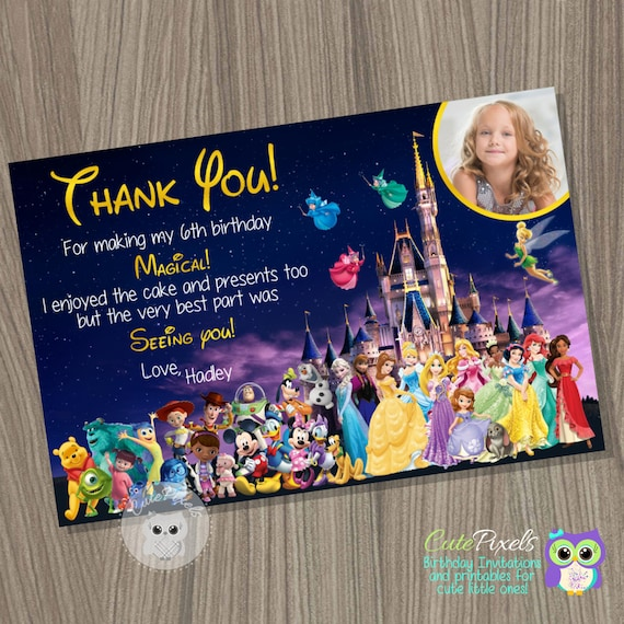 disney castle thank you card disney characters card disney thank