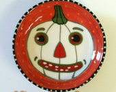Halloween White Pumpkin Jack-O-Lantern Mini Bowl Painted by Sharon Bloom Designs