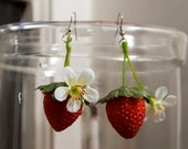 LIMITED TIME OFFER // Strawberry blossom Earrings // Adorable Quirky Gift for Her // Statement Piece // Fashion