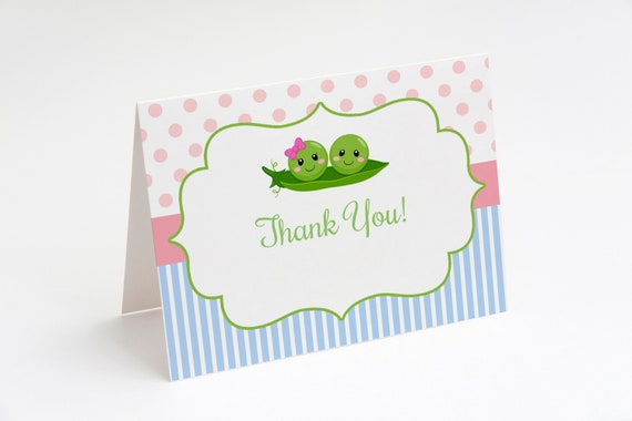 Two Peas In A Pod Thank You Card Twins Baby Shower Boy Girl Twins