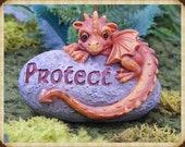 dragon protector rock garden figurine, fantasy, affirmation, woodland, decor, miniature, accessory PROTECT