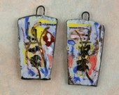 ReSERVED FOR CAROLE custom 7 prs Handmade ceramic art charms earrings/charms dangles