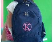 Monogrammed Backpack - Toddler Backpack - Back to School - Preschool Backpack - Personalized Backpack - Navy Lunchbox - Kids Navy Backpack