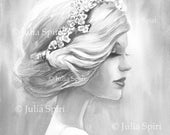 GRAYSCALE Coloring Pages, Digital stamp, Digi, Portrait girl, Fantasy. The Inspiration