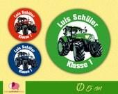 30 Namensaufkleber rund | Traktor | Schulaufkleber