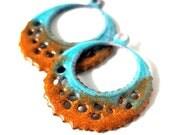 Orange and Blue Enamel Brass Filigree Earring Charms