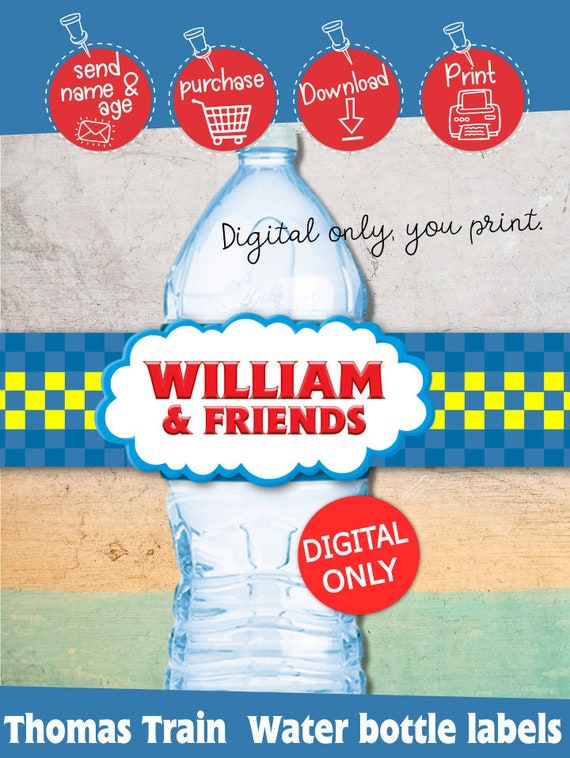 digital download thomas and friends inspired water bottle labels