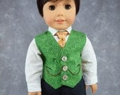 """Autumn Vest for 18"""" Boy Dolls.  Green pumpkin patch Thanksgiving 3 button waistcoat w/ 2 real pockets. Made to fit American Girl Boy dolls."""