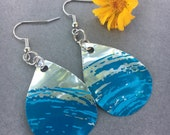 Green Ecofriendly Jewelry   Ocean Inspired, Beach Lover Gift, Upcycled Cans, Zero Waste, Water Drop Jewelry, Recycled Can, Beach Jewelry
