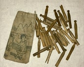 Vintage 1920s 1930s Childrens Toy Clothespins and Bag with Graphics Wooden Clothespins Pretend Play