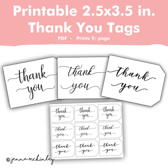 Printable Wedding Favor Tags, Bridal Shower Labels, Rustic Thank You ...