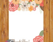 """Simple Floral Thank You Flat Card Print Your Own All Occasion 4""""x6"""" Digital Instant Download (ty-553)"""