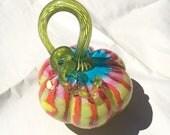 RESERVED - Tropicana - Hand Blown Glass Pumpkin