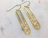 Geometric Stained Glass Column Dangle Laser Cut Earrings