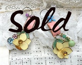 SOLD...vintage enamel flower earrings pink yellow upcycled flea market jewelry romantic cottage chic one of a kind garden