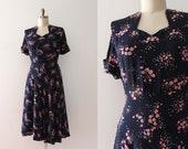 vintage 1940s rayon dress // 40s day dress