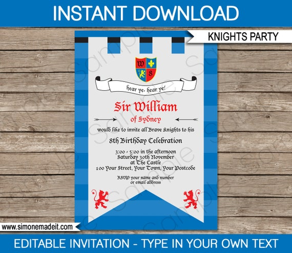 Knight invitation medieval invitation printable birthday party il570xn stopboris