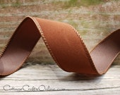 """Wired Ribbon, 1 1/2"""" Chocolate Brown Velvet Suede Finish - TEN YARD ROLL - Christmas, Thanksgiving, Fall Wire Edged Ribbon"""