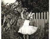 "Vintage Snapshot ""Fairy Princess"" Ballerina Pretty Girl Wearing Costume Black & White Old Photo Vernacular Photography"
