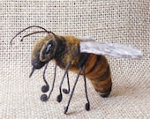 Queen Bee Needle Felted Sculpture, Beekeeper Gift, Made of Wool and Silk